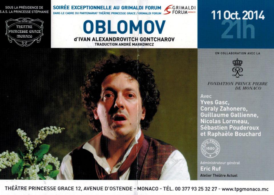 Le flyer de la représentation d'Oblomov à Monaco
