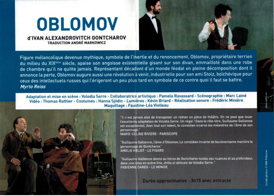Le descriptif de la pièce de théâtre Oblomov