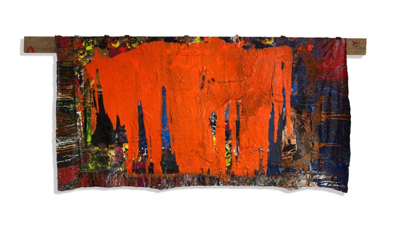 Revolution (2010) – Pigments sur toile libre et planche de bois 180x(341)405cm – Philippe Pastor